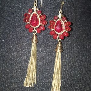 Jewelry - Ruby Red & Gold Tone Long Dangle Earrings